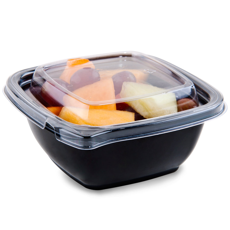 Sabert C95012TE250 12 oz. Black Square Tamper Evident Bowl with Lid - 250 / Case