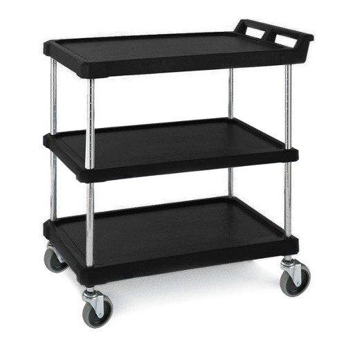 Metro BC2030-34BL Black Utility Cart with Three Shelves 33 3/4 inch x 21 1/2 inch