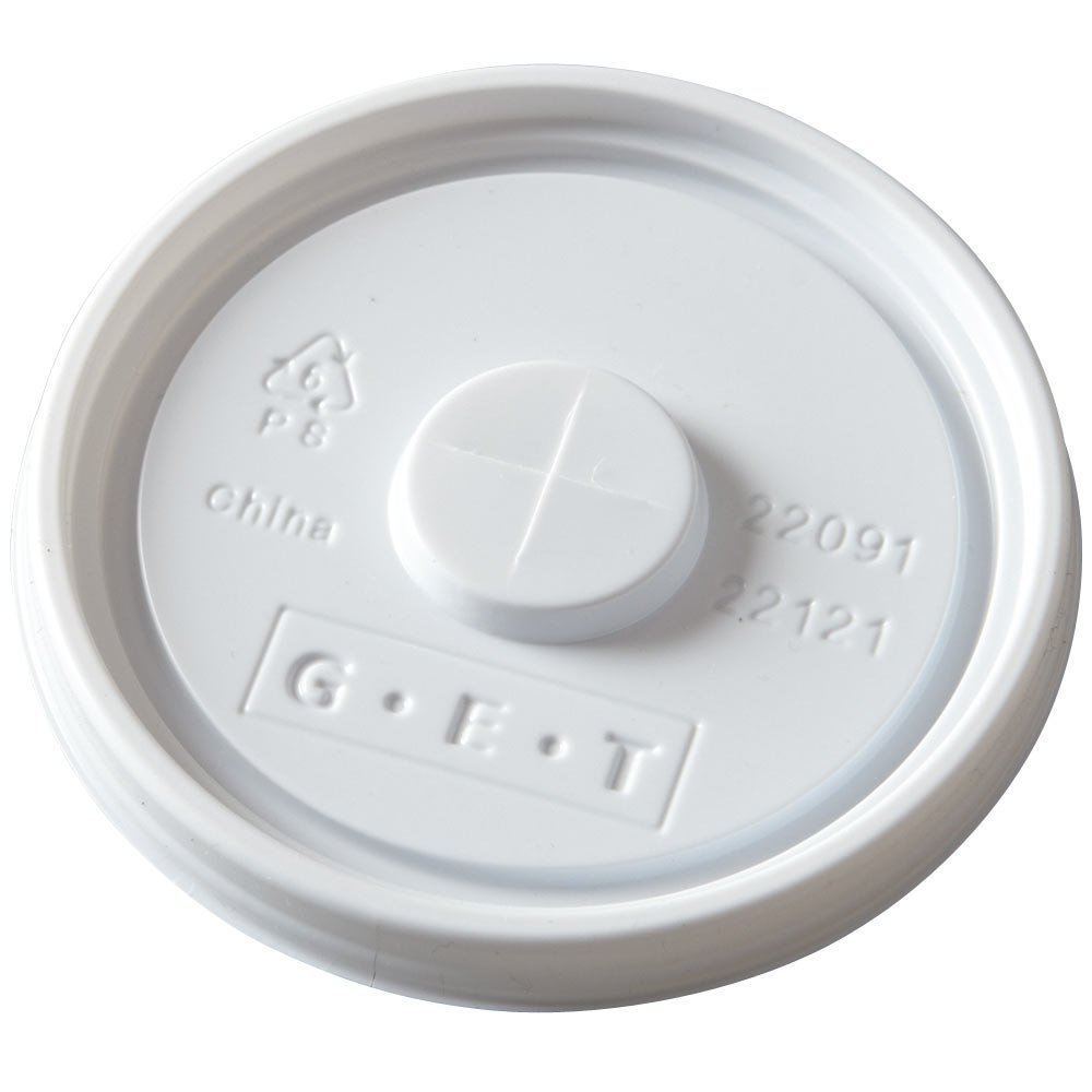 "GET LID-22091-W Disposable White Plastic Lid with Straw Slot for 3 1/4"" Diameter Tumblers - 1000/Case"