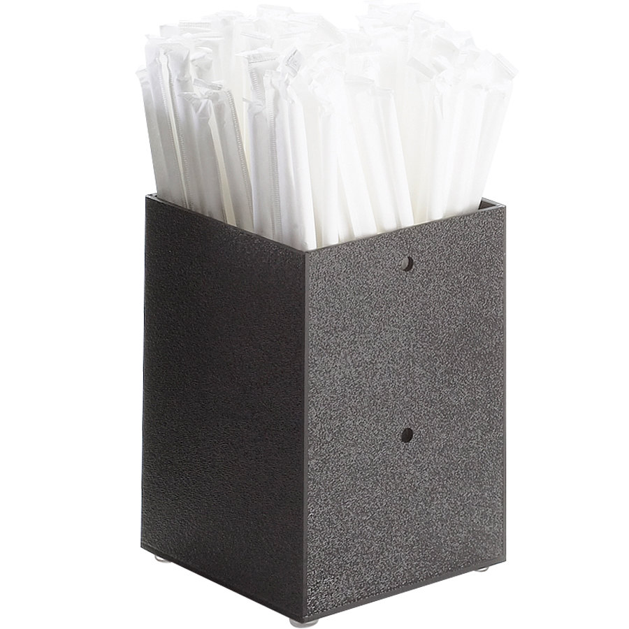 "Cal-Mil 787-13 Black Modular Straw Holder - 4 1/4"" x 4 1/4"" x 6"""