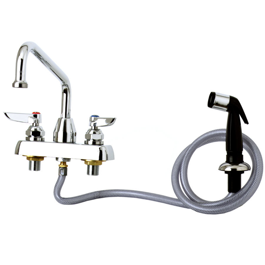 "T&S B-1171 Deck Mounted Workboard Faucet with Self-Closing Spray Valve and 4"" Centers - 8"" Swing Nozzle"