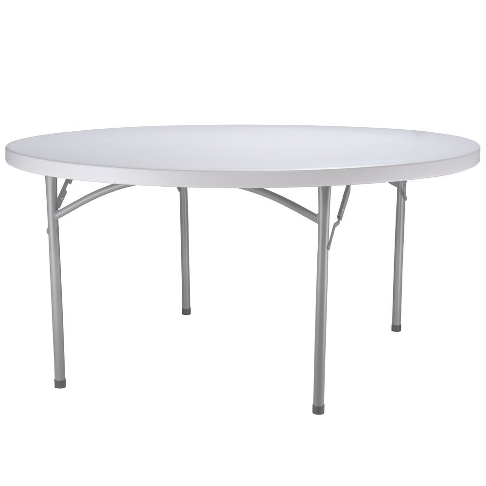 Round Folding Table 60 Heavy Duty Plastic White Granite
