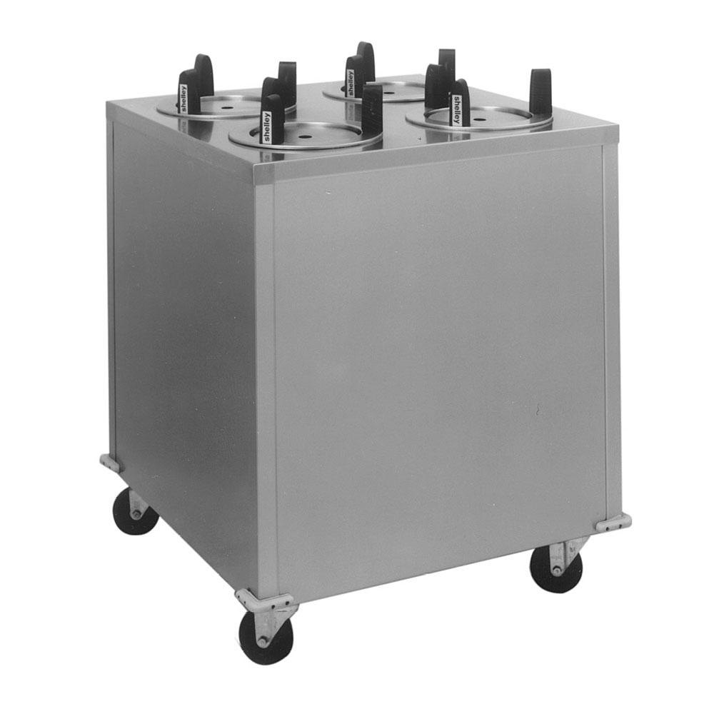 "Delfield CAB4-1200ET Even Temp Mobile Enclosed Four Stack Heated Dish Dispenser / Warmer for 10 1/8"" to 12"" Dishes - 208V"
