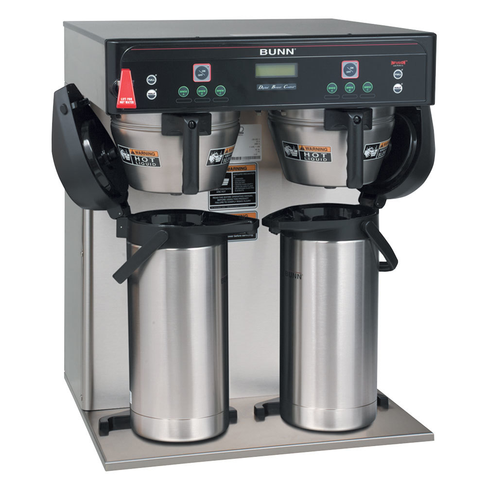Bunn 37600.0010 ICB-TWIN Dual Infusion Series Stainless Steel Coffee Brewer with Self Serve ...