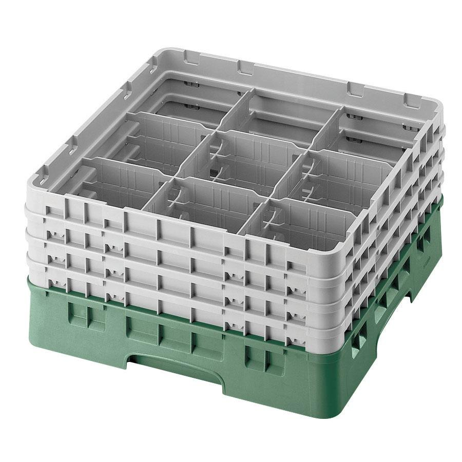 "Cambro 9S434119 Sherwood Green Camrack 9 Compartment 5 1/4"" Glass Rack"