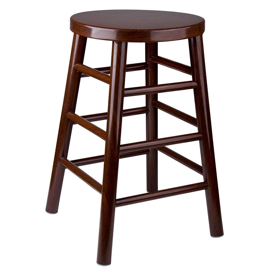Lancaster table seating 24 metal woodgrain barstool for Dark wood bar stools