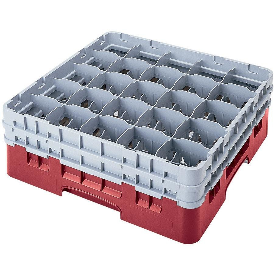 "Cambro 25S958416 Camrack 10 1/8"" High Cranberry 25 Compartment Glass Rack"
