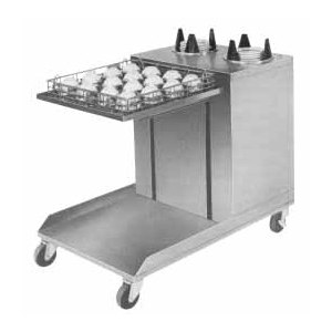 "APW Wyott Lowerator CTRS-2020-6 Mobile Open Combination 20"" x 20"" Glass Rack and 5 1/8"" to 5 3/4"" Saucer Dispenser"