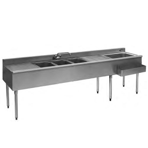 Eagle Group BC8C-18R Combination Underbar Sink and Ice Bin with Three Sinks, Two Drainboards, One Faucet, and Right Side Ice Bin - 96""