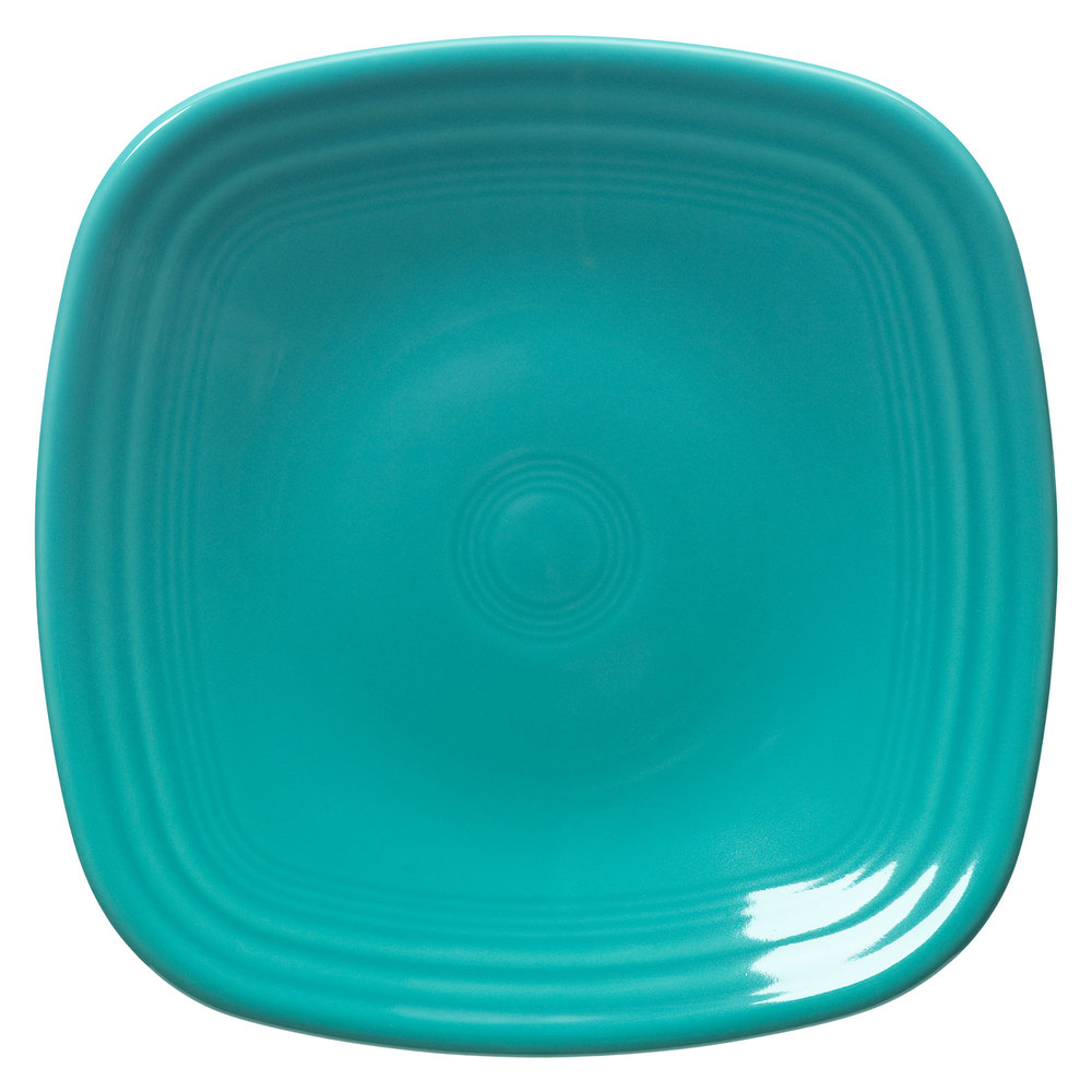 "Homer Laughlin 920107 Fiesta Turquoise 9 1/4"" Square Luncheon Plate - 12/Case"