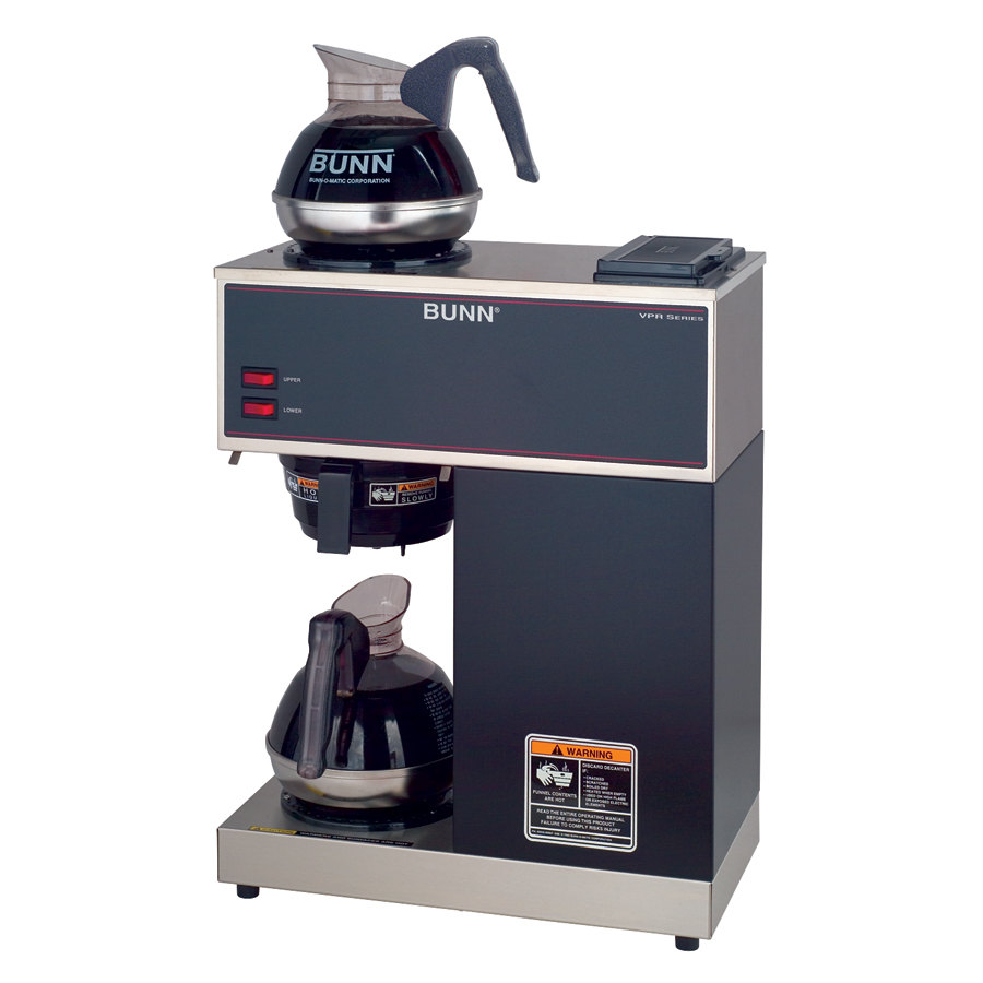 Bunn VPR Black 12 Cup Pourover Coffee Brewer with 2 Warmers and 2 Easy Pour Decanters - 120V (Bunn 33200.0002)