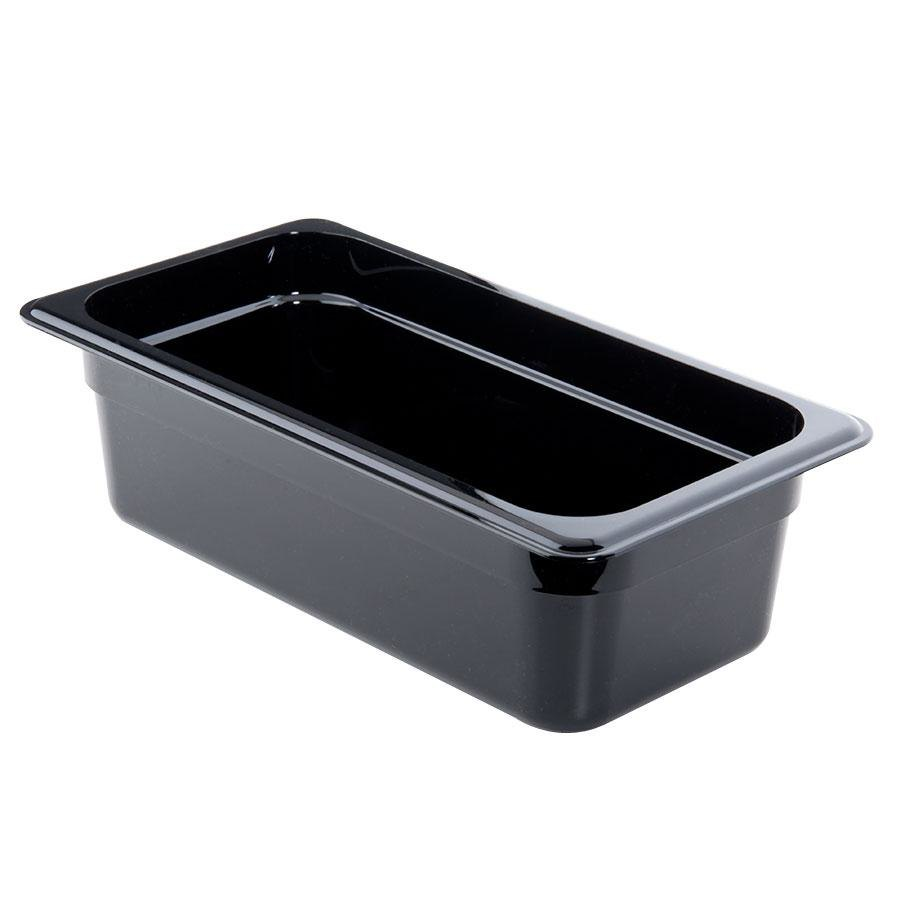 "Cambro 44CW110 Camwear 1/4 Size Black Food Pan - 4"" Deep"