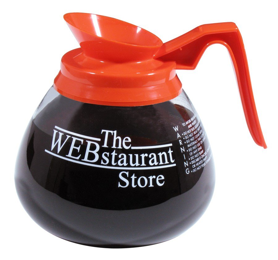 WEBstaurant Store Logo Glass Coffee Decanter with Orange Decaf Handle