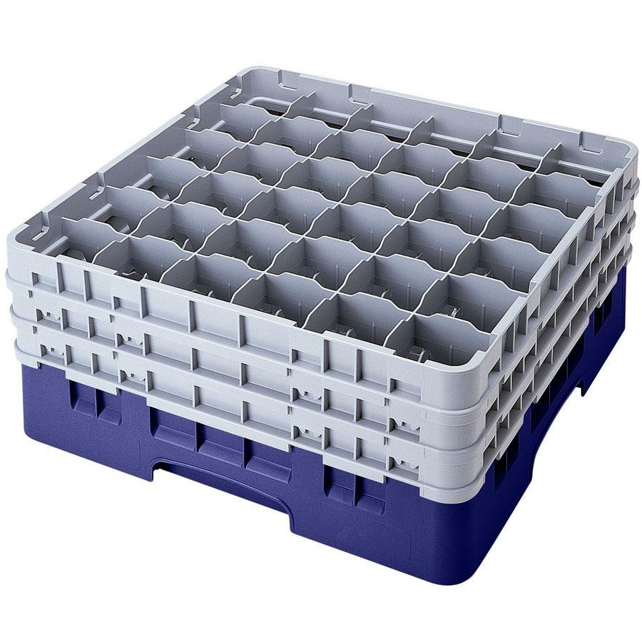 "Cambro 36S1114186 Navy Blue Camrack 36 Compartment 11 3/4"" Glass Rack"