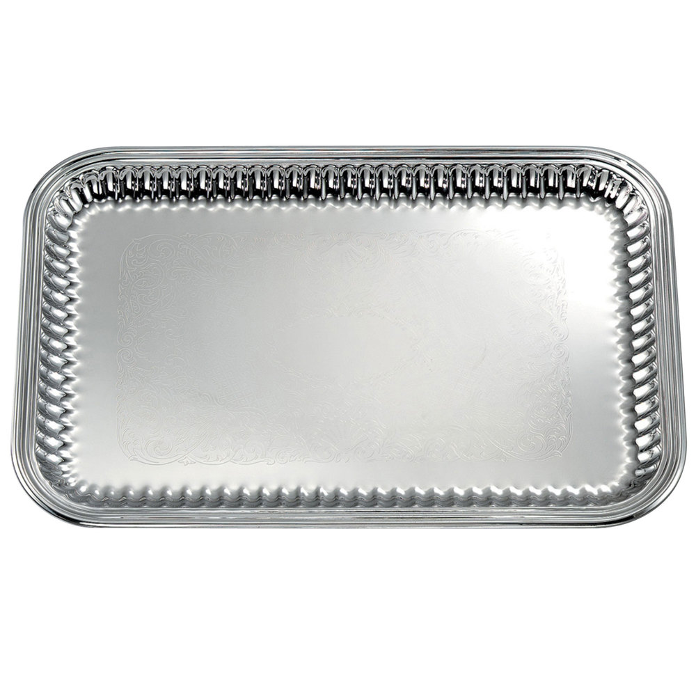 "Vollrath 82167 Esquire 21"" x 14"" Rectangular Fluted Stainless Steel Tray"