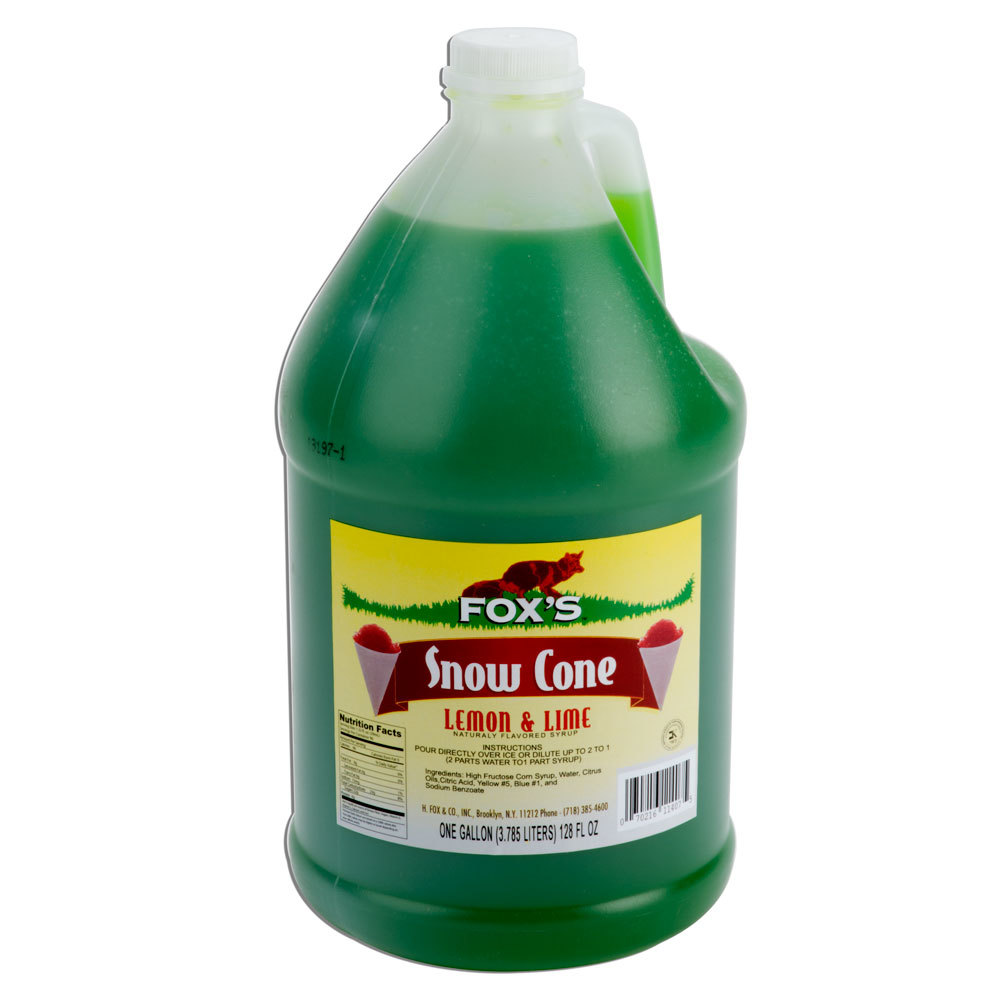 Fox's 1 Gallon Lemon-Lime Snow Cone Syrup - 4/Case