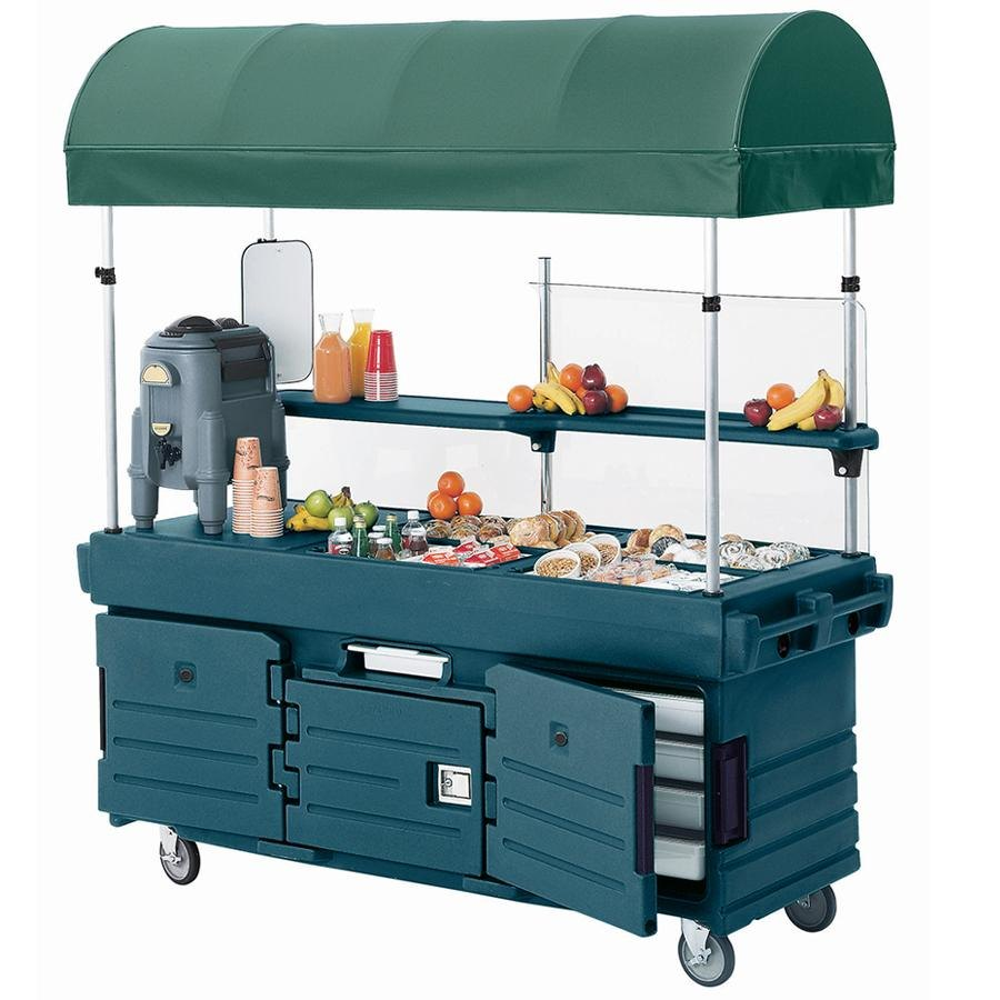 Cambro CamKiosk KVC854C192 Granite Green Vending Cart with 4 Pan Wells and Canopy
