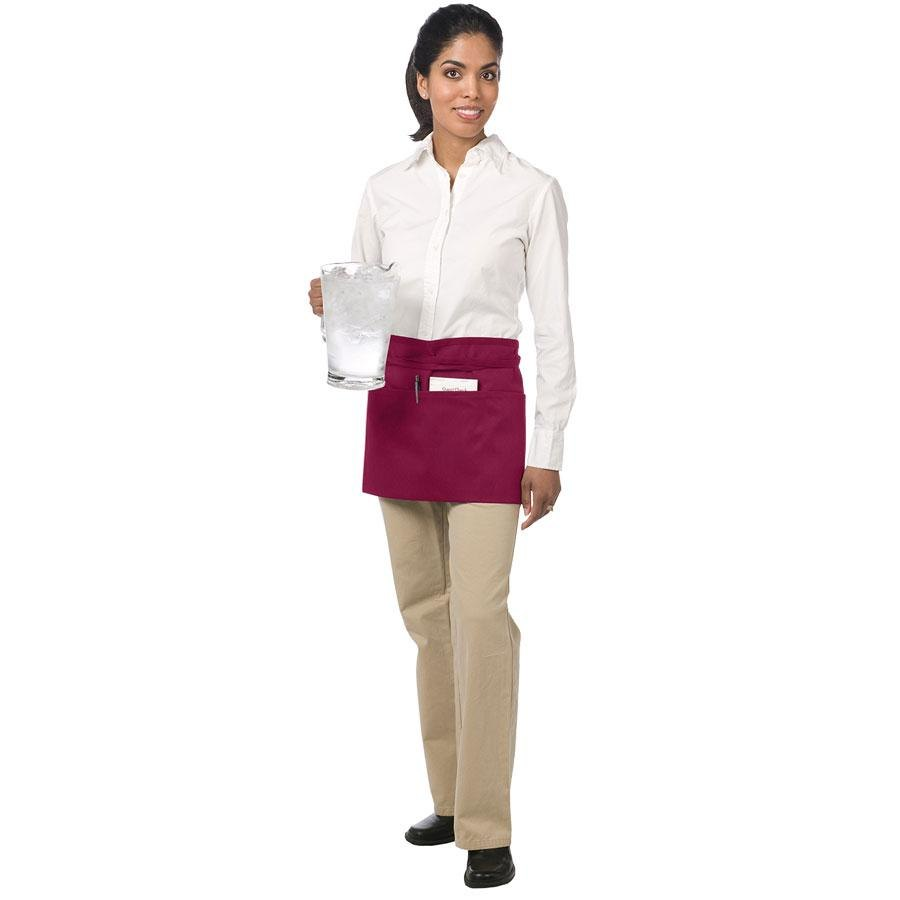 "Chef Revival 605WAFH-BG Customizable Burgundy Front of the House Waist Apron - 12""L x 24""W"
