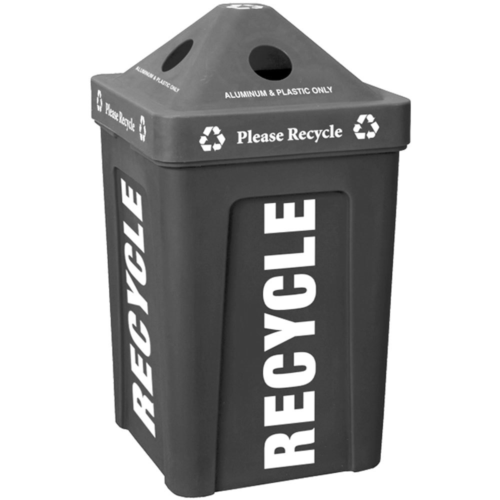 Black Stacking Pyramid Lid Recycle Bin - 48 Gallon