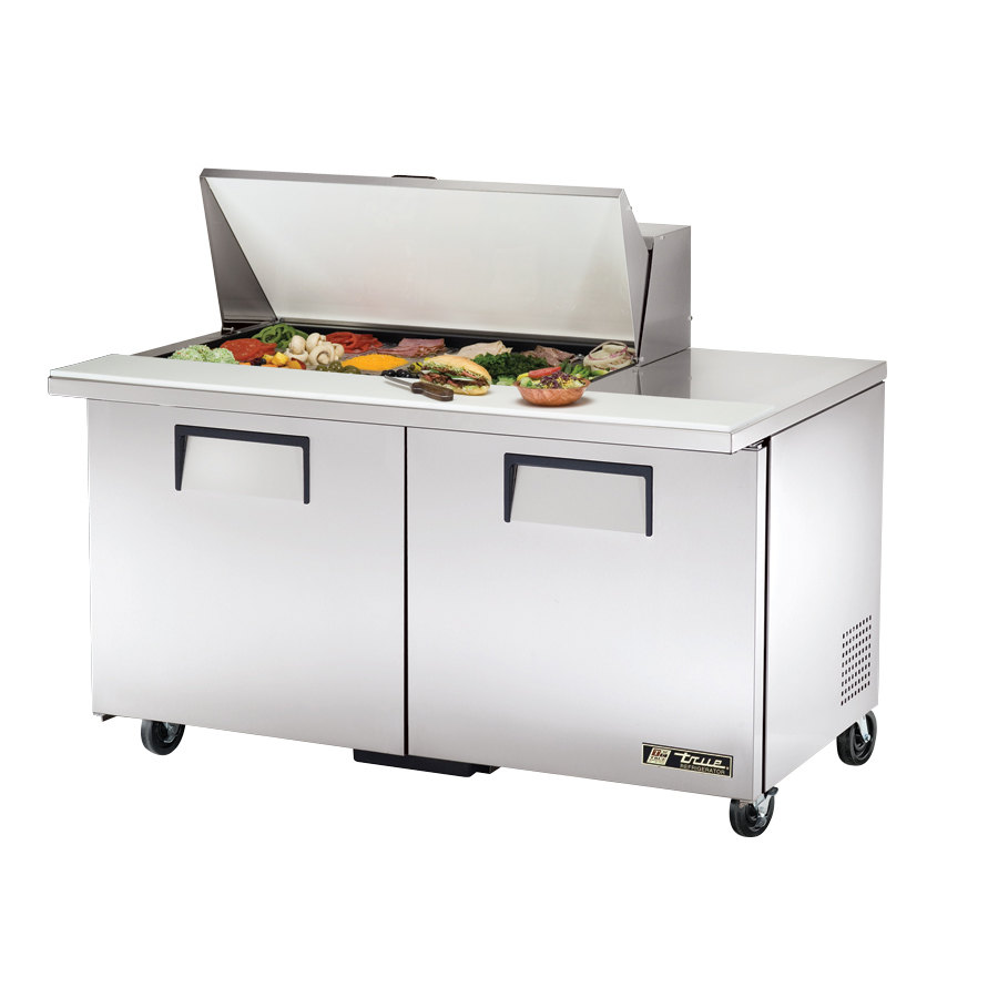 True TSSU-60-18M-B 60 inch Mega Top Two Door Sandwich / Salad Prep Refrigerator - Eighteen Pans