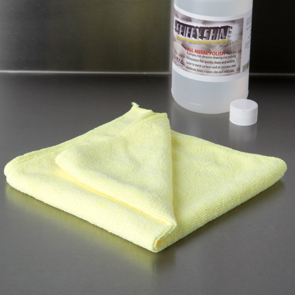 "16"" x 16"" Yellow Microfiber Cleaning Cloth"