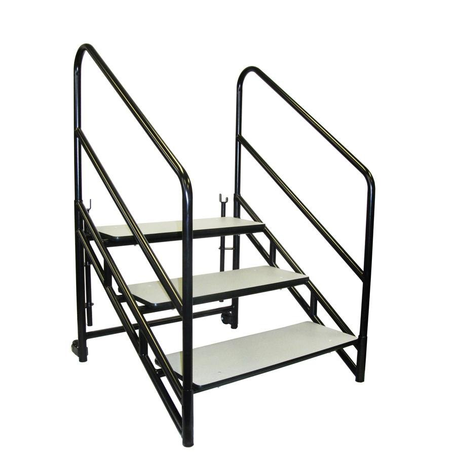 Portable Stage Steps With Handrails : National public seating stp stage steps with guardrail