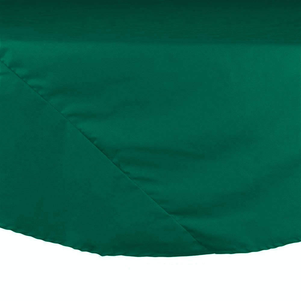 "83"" Green Round Hemmed Polyspun Cloth Table Cover"