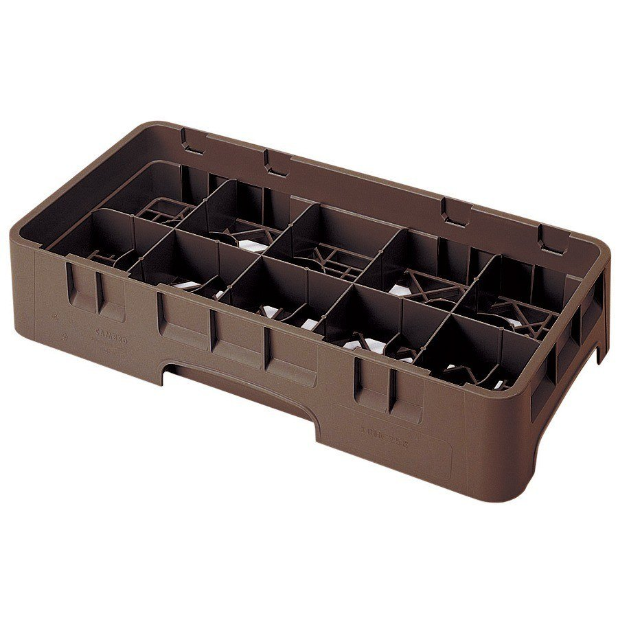 "Cambro 10HS638167 Brown Camrack 10 Compartment 6 7/8"" Half Size Glass Rack"