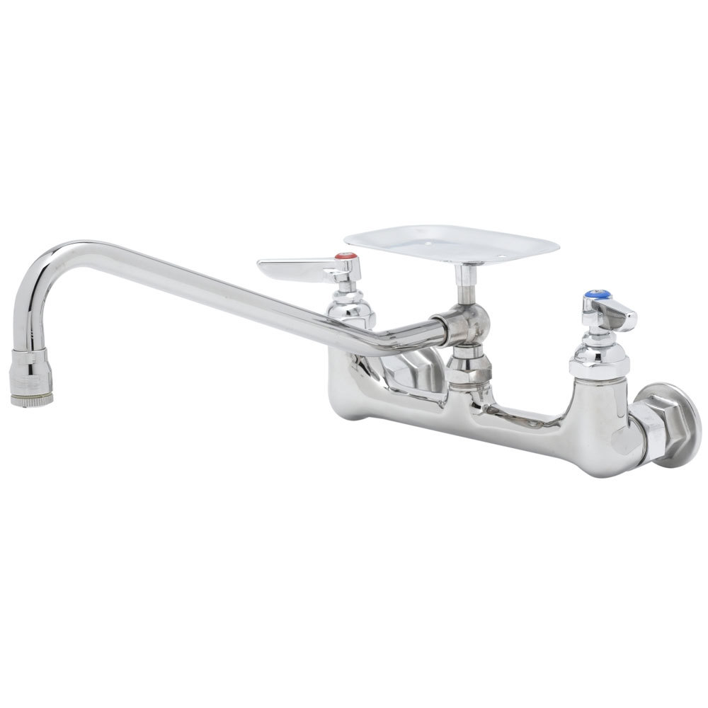 "T&S B-0233-04 Wall Mounted Pantry Faucet with 8"" Adjustable Centers, 18"" Swing Nozzle, Eterna Cartridges, and Soap Dish"