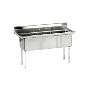 Advance Tabco FE-3-1812 Three Compartment Stainless Steel Commercial Sink - 59 inch