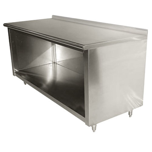 "Advance Tabco EF-SS-245 24"" x 60"" 14 Gauge Open Front Cabinet Base Work Table with 1 1/2"" Backsplash"