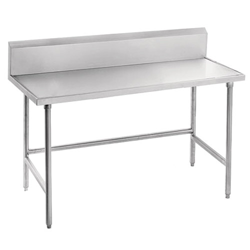 "Advance Tabco Spec Line TVKS-307 30"" x 84"" 14 Gauge Stainless Steel Commercial Work Table with 10"" Backsplash"