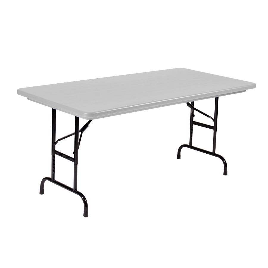 Correll adjustable height folding table 30 x 60 plastic - Camping table adjustable height ...
