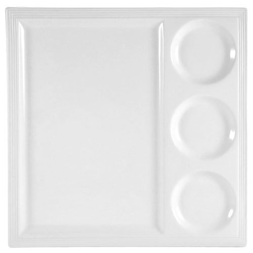 "CAC CTY-25 Citysquare 14"" x 14"" Bright White Porcelain Tray with 3 Bowl Holders - 12/Case"