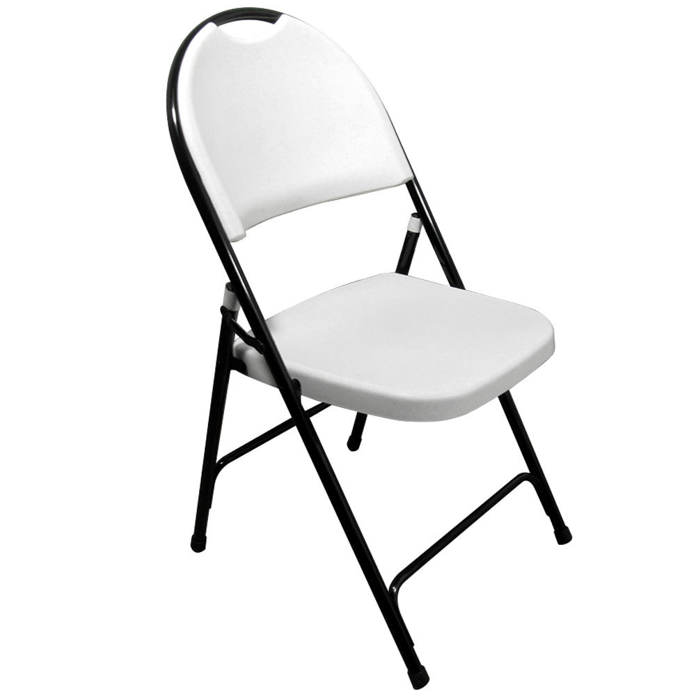 Correll RC350 Gray Granite with Black Frame Plastic Molded Folding Chair