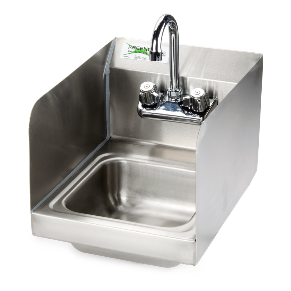 Regency Wall Mounted Hand Sink with Faucet and Sidesplash - 12