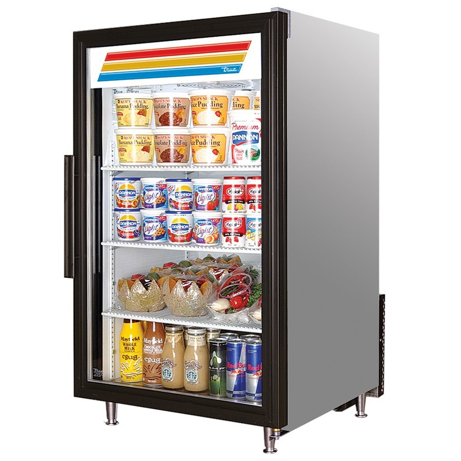 True GDM-7 Stainless Steel Countertop Glass Door Refrigerator - 7 Cu. Ft.