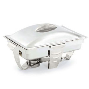 Vollrath 49520 9 Qt. Maximillian Steel Rectangular Chafer Full Size with Stainless Steel Accents