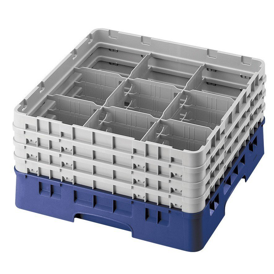 "Cambro 9S318186 Navy Blue Camrack 9 Compartment 3 5/8"" Glass Rack"