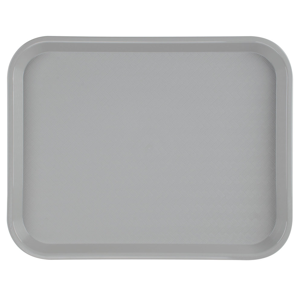 "Carlisle CT141823 Customizable Cafe 14"" x 18"" Gray Standard Plastic Fast Food Tray - 12/Case"