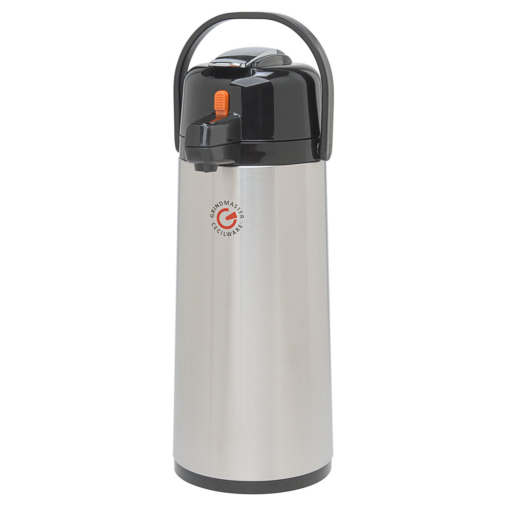 Grindmaster 70767-C 2.2 Liter Glass Lined Decaf Airpot with Orange Lever - 6/Case