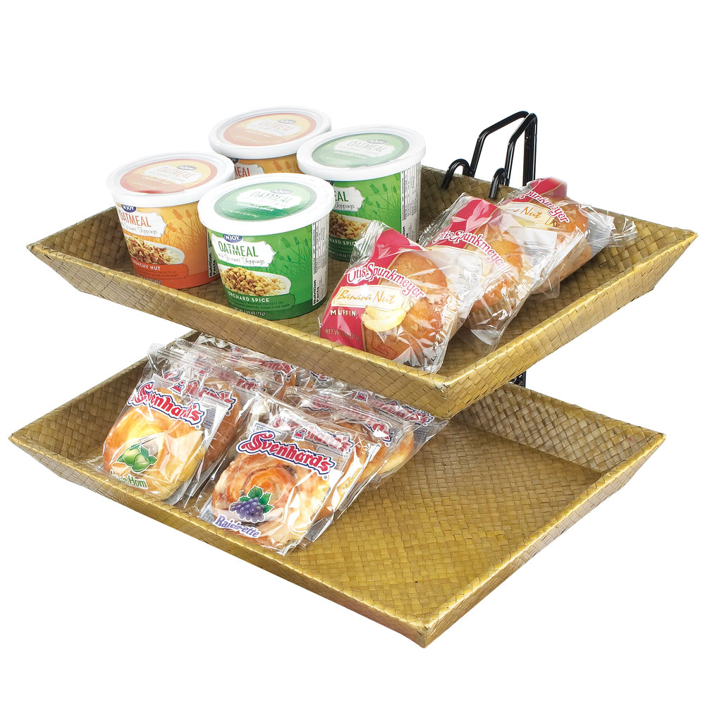 "Cal-Mil 1290-2 Iron Two Tier Wire Merchandiser with Bamboo Trays - 18"" x 15"" x 15"""