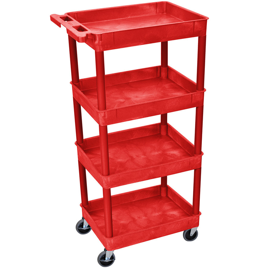 "Luxor / H. Wilson RDSTC1111RD Red 4 Tub Utility Cart - 18"" x 24"" x 46 3/4"""