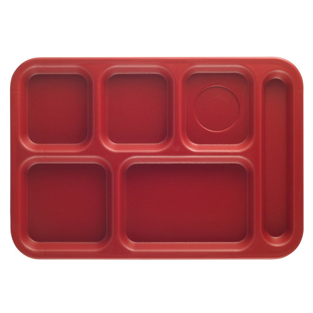 "Cambro PS1014416 Penny-Saver 10"" x 14 1/2"" Cranberry 6 Compartment Serving Tray - 24/Case"