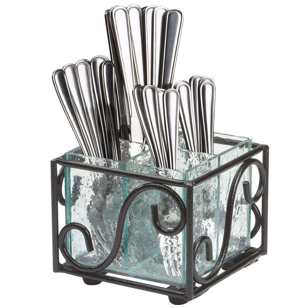 Cal-Mil H350-13 Aqua Wire and Faux Glass Flatware Holder