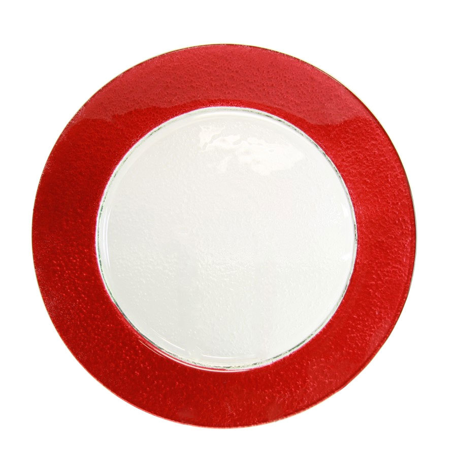 "10 Strawberry Street HAL-RED340 13"" Colored Rim Red Rim Glass Charger Plate"