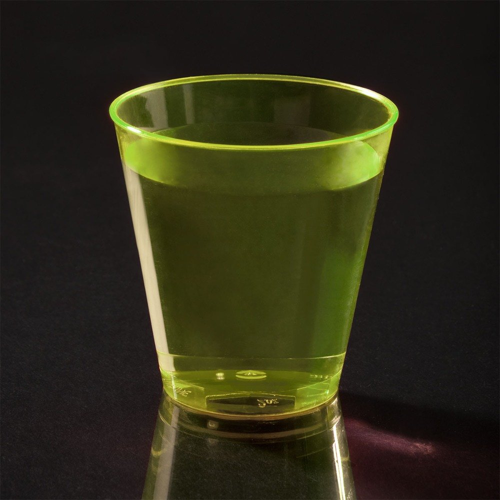 Fineline Quenchers 402Y 2 oz. Neon Yellow Hard Plastic Shot Cup 50 / Pack