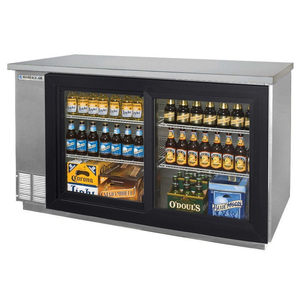 "Beverage Air BB58GS-1-SS-WINE 58"" SS Back Bar Wine Series Refrigerator - 2 Sliding Glass Doors"