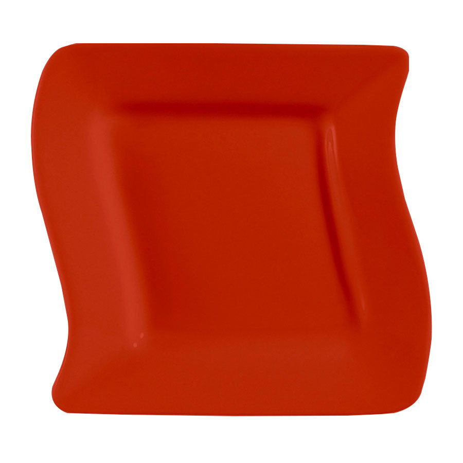 "CAC SOH-6R Color Soho 6 3/4"" Red Square Stoneware Plate - 36/Case"