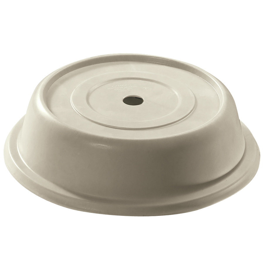 "Cambro 103VS101 Versa Antique Parchment Camcover 10 3/16"" Round Plate Cover - 12/Case"